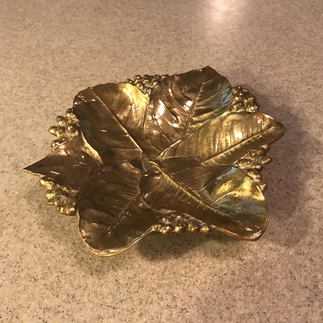 Virginia Metal Crafters Brass Lemon Leaves Tray - Image 5 of 9
