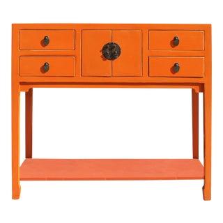 Chinese Matte Orange Wood Plain 4 Drawers Side Table
