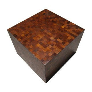 1950's Tessellated Wood Cube Table