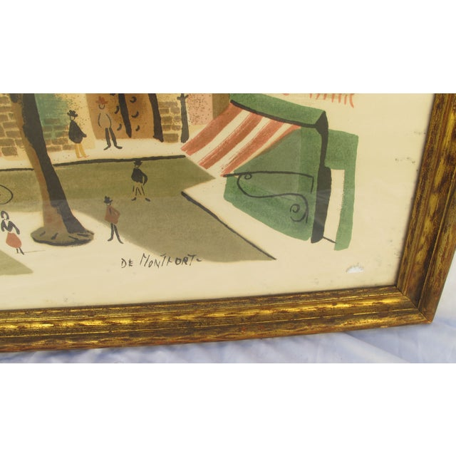 Antique Lithograph of Village Scene - Image 4 of 6