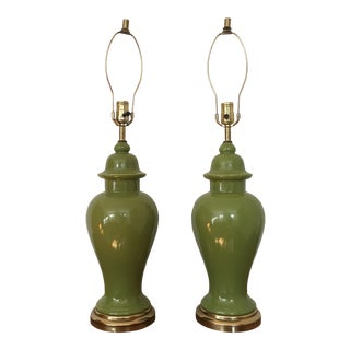 Vibrant Green Ginger Jar Lamps - A Pair