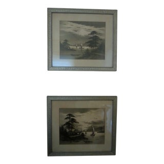 Antique Japanese Ink Paintings - Pair