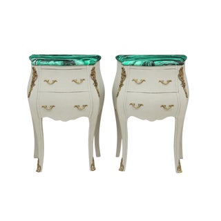 French Provencal Style Malachite Nightstands - a Pair