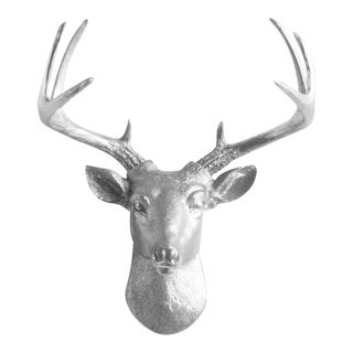 Wall Charmers Silver Faux Deer Head
