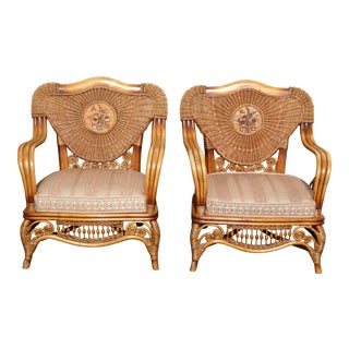 Vintage Bamboo Rattan Accent Chairs - A Pair