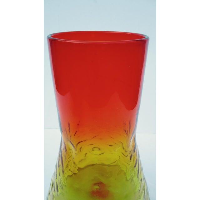 Mid-Century Modern 1960s Orange & Yellow Blenko Glass Vase - Image 6 of 9
