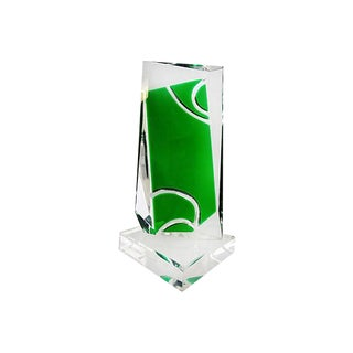Mid-Century Faceted Lucite Sculpture in Green