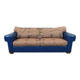 Blue Leather Upholstered Ethan Allen Contemporary Sofa