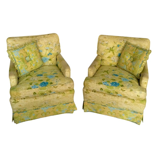 Floral Print Club Chairs by Century - A Pair - Image 1 of 7