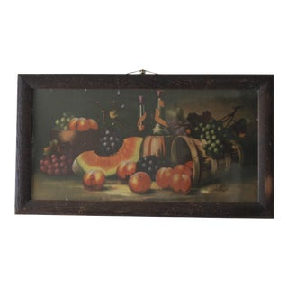 Antique 19th C. Watermelon, Fruit & Wine Painting