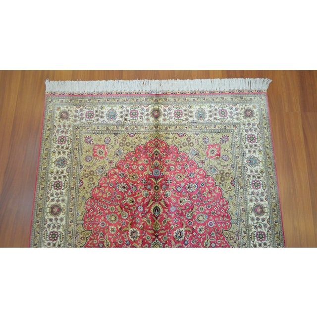 Hand Knotted Turkish Silk Rug - 4′ × 5′10″ - Image 6 of 9