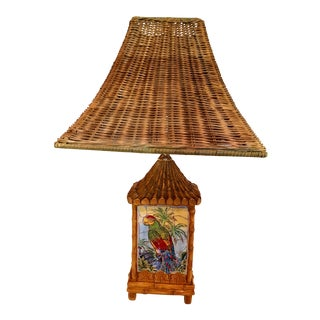 Faux Bamboo Parrot Tile and Wicker Tropical Lamp