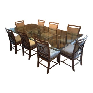 McGuire Rattan Glass Table & Chairs - Set of 14