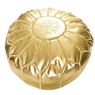 Handmade Traditional Gold Leather Pouf