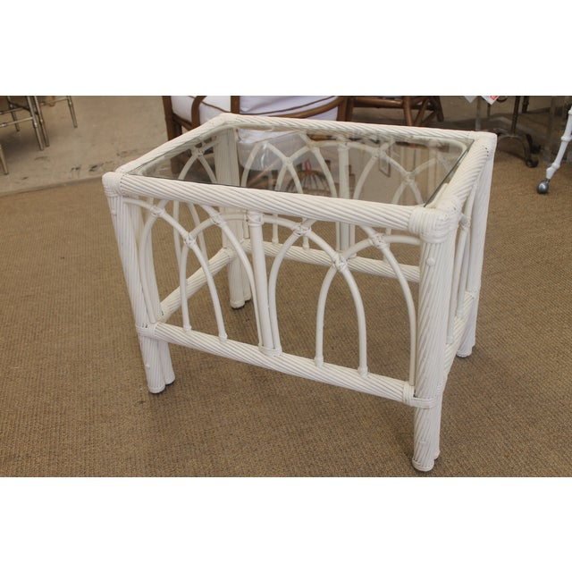 White Vintage Cane End Tables - A Pair - Image 4 of 6
