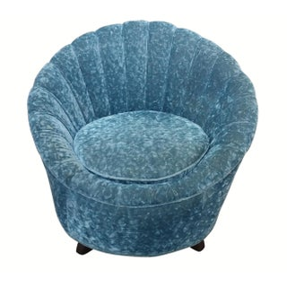 Scalloped Swivel Chair in Dark Teal