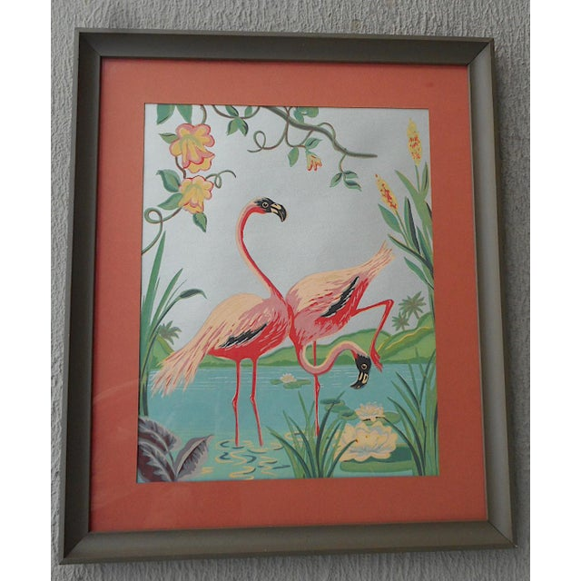 Image of Vintage Mid 20th C. Hand Finished Silkscreen-Flamingos-Framed