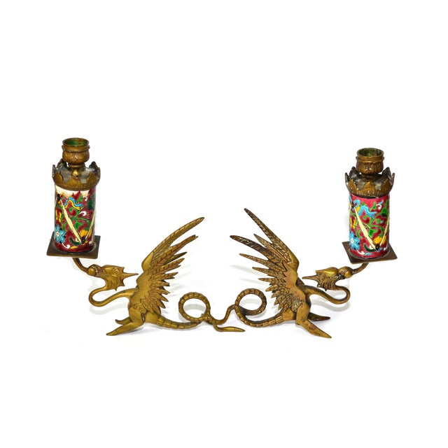 Antique Longwy Gryphon Candlesticks - A Pair - Image 2 of 7