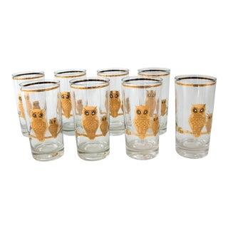 Mid-Century Culver Gold Owl Glasses - Set of 8