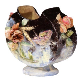 19th Century French Hand Painted Barbotine Jardiniere