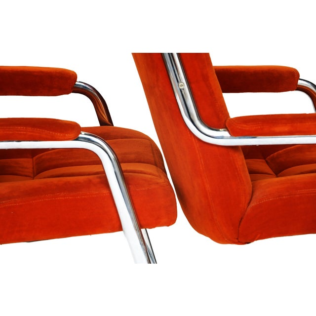 Pair Chrome Milo Baughman-Style Chairs - Image 6 of 10