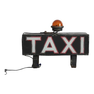 "Early 1900s Light Up ""TAXI"" Sign"