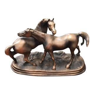 Circa 1940s French Art Deco Bronze Sculpture of Two Horses