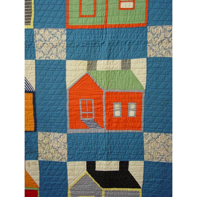 Image of Schoolhouse Quilt on Blue Ground