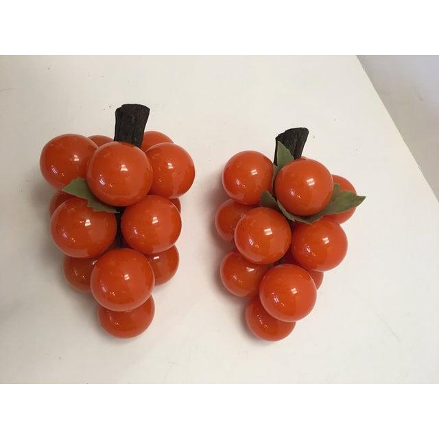 Image of Mid-Century Orange Lucite Grapes - A Pair