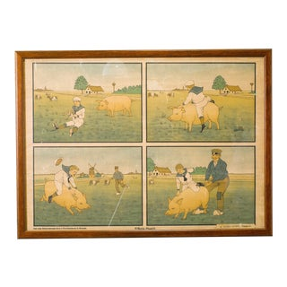 Set of Five Framed Belgian School Charts circa 1900's