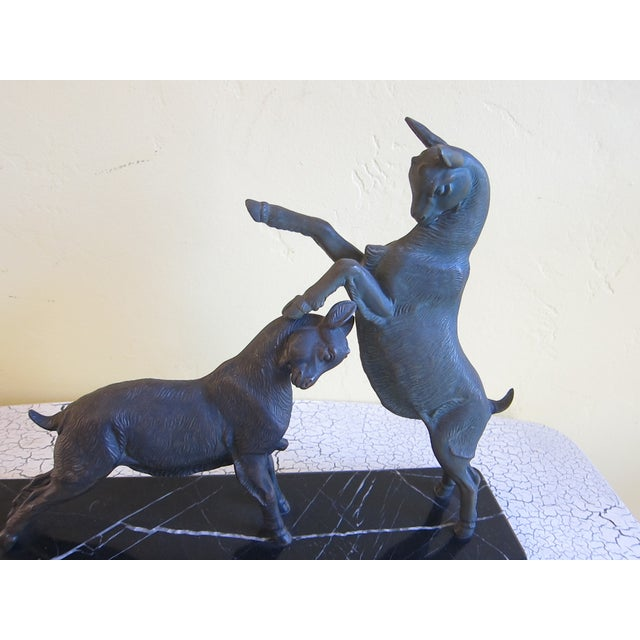Vintage Art Deco Bronzed Rutting Goats on Marble - Image 5 of 11
