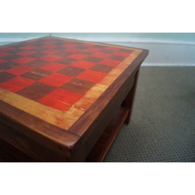 Solid Pine Primitive Checkerboard Top Side Table - Image 9 of 10