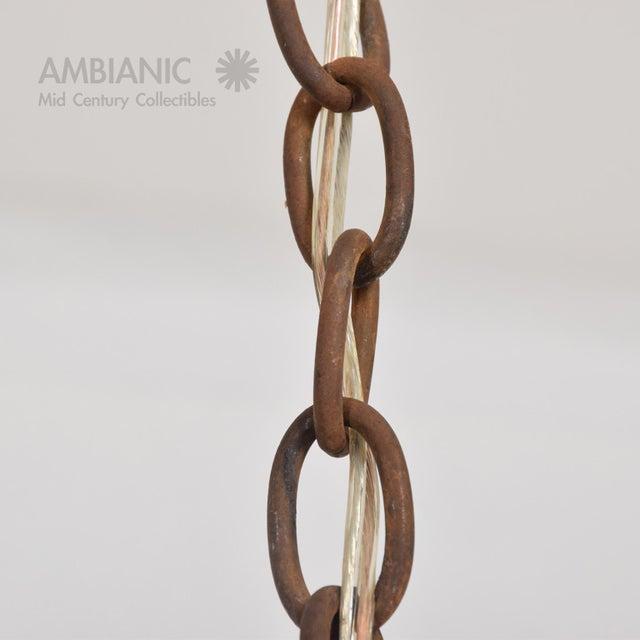 Feders Pendant Ceiling Fixture Handblown Glass and Steel Brutalist Chandelier - Image 4 of 8