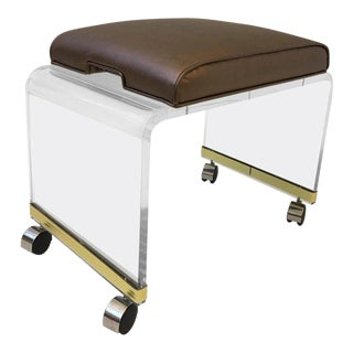 Acrylic Waterfall Vanity Stool on Casters by Hill Manufacturing Corp