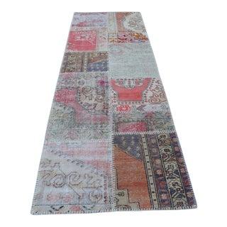Turkish Hanmade Patchwork Runner Carpet - 2′11″ × 9′3″