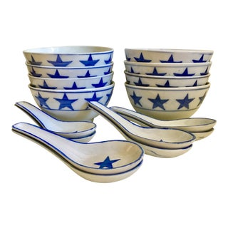 Blue & White Star Bowls & Spoons - 16 Pieces
