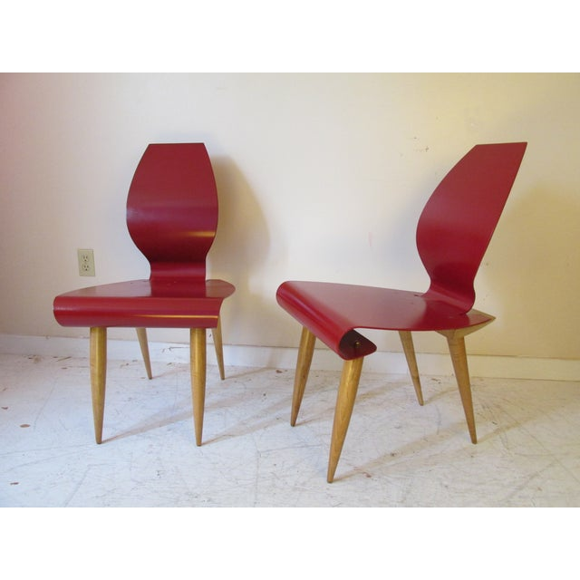 Vintage post modern steel accent chairs a pair chairish for Post modern chair