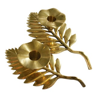Brass Palm Leaf Taper Candle Holders - A Pair