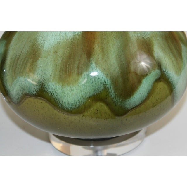 Mid-Century Restored Green Pottery Lamps - Pair - Image 5 of 9