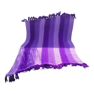 Vintage Hand-Knit Purple Afghan Throw