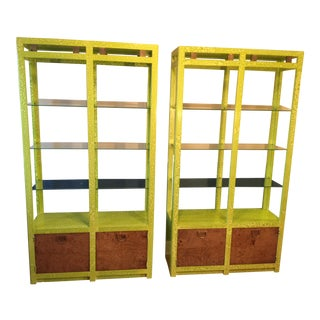 Lime Burled Wood & Brass Etageres - A Pair