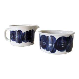 Arabia Finland Anemone Creamer & Sugar Bowl Mid Century Blue White