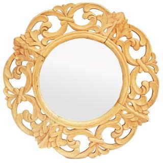 Round Carved Wooden Mirror