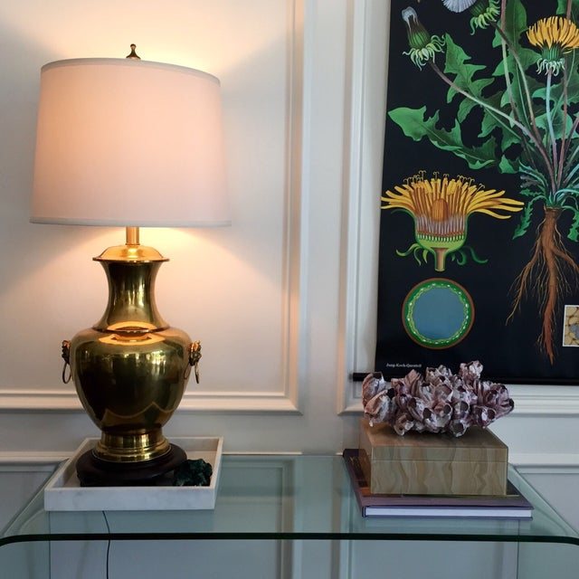 Vintage Brass Urn Lamp With Dragon Faces - Image 2 of 8