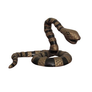 Striking Hollywood Regency Brass & Enamel Snake