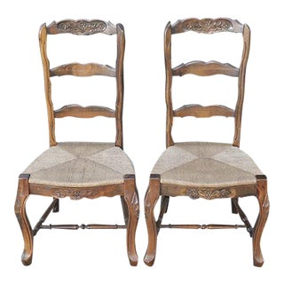 French Country Chairs With Rush Seats - A Pair