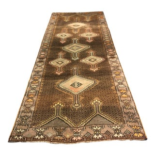 "Brown Vintage Turkish Oushak Runner - 4'6"" X 12'2"""