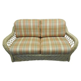 White Washed Wicker Loveseat by Walters Wicker