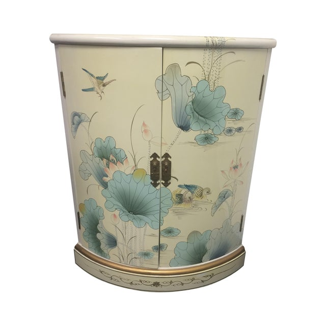 Asian White Lacquer Hand-Painted Corner Cabinet - Image 1 of 6