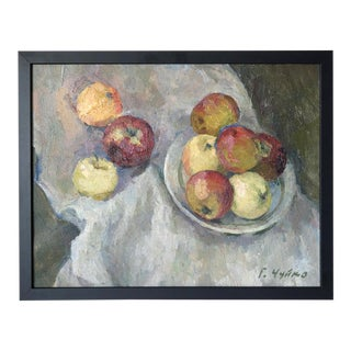 Antique Apples Still Life Impressionist Oil Painting